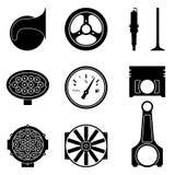 Reeks pictogrammen van autodelen Silhouetvector royalty-vrije illustratie