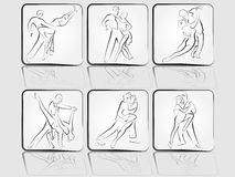 Reeks pictogrammen van dansende paren Stock Foto
