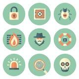 Reeks Pictogrammen van de Cirkelveiligheid Royalty-vrije Stock Afbeelding