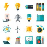 Reeks pictogrammen van de de industriemacht in vlakke ontwerpstijl Stock Afbeeldingen