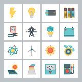Reeks pictogrammen van de de industriemacht in vlakke ontwerpstijl Royalty-vrije Stock Foto's
