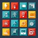 Reeks pictogrammen van de de industriemacht in vlakke ontwerpstijl Royalty-vrije Stock Fotografie