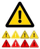 Reeks pictogrammen van de driehoeksvoorzichtigheid Het teken van de voorzichtigheid Voorraadvector illust Stock Afbeeldingen