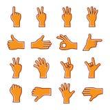 Reeks pictogrammen van de gebaarhand Stock Foto's