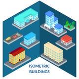 Reeks pictogrammen van de gebouwen van de stad Stock Afbeeldingen