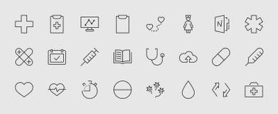 Reeks pictogrammen van de geneeskunde vectorlijn Het bevat de eerste hulpuitrusting, verpleegster, spuit, thermometer, plastiek,  stock illustratie