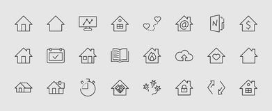 Reeks pictogrammen van de huis vectorlijn Bevat symbolen van de conclusie van het contract, hart, een daling van water, brand, ge vector illustratie