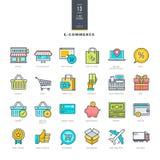 Reeks pictogrammen van de lijn moderne kleur voor elektronische handel Royalty-vrije Stock Afbeelding