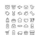 Reeks pictogrammen van de overzichtsdierenwinkel Dunne pictogrammen voor Web, druk, mobiel appsontwerp Royalty-vrije Stock Foto