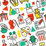 Reeks pictogrammen van de overzichtskunst in vlak vector de illustratie naadloos patroon van ontwerpsymbolen royalty-vrije illustratie