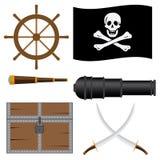 Reeks pictogrammen van de piraat. Stock Afbeeldingen