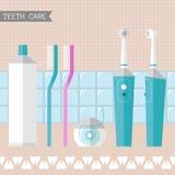 Reeks pictogrammen van de tandenzorg Stock Afbeelding