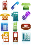 Reeks Pictogrammen van de Telefoon Stock Afbeeldingen