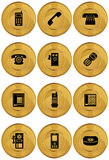 Reeks Pictogrammen van de Telefoon - Gouden Muntstuk Stock Foto's