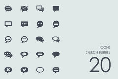 Reeks pictogrammen van de toespraakbel Stock Foto's