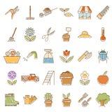 Reeks pictogrammen van de tuininstallatie met kleuren Stock Fotografie