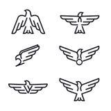 Reeks pictogrammen van de vogels roofdierdielijn, op witte achtergrond wordt geïsoleerd royalty-vrije illustratie