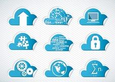 de pictogrammen van de wolkentechnologie Stock Afbeelding