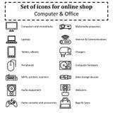 Reeks pictogrammen van diverse computerapparatuur voor secties van onlin Royalty-vrije Stock Fotografie
