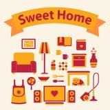 Reeks pictogrammen van een comfortabel huis stock foto