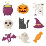 Reeks pictogrammen van Halloween Vector illustratie Stock Afbeelding