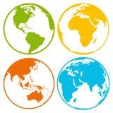 Reeks pictogrammen van het de bolembleem van de aardeplaneet voor Web en app Stock Fotografie