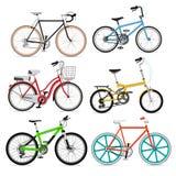 Reeks pictogrammen van het fietssymbool. Stock Foto's