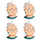 Reeks pictogrammen van het grootmoedergezicht royalty-vrije illustratie