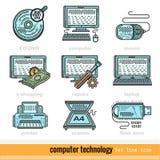 Reeks Pictogrammen van het het Overzichtsweb van de KleurenComputertechnologie Stock Afbeeldingen