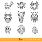 Reeks Pictogrammen van het het Overzichtsweb van Landbouwbedrijfdieren Stock Foto's