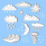 Reeks pictogrammen van het krabbelweer Zon, maan, ster, wolken Stock Afbeelding