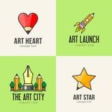 Reeks pictogrammen van het kunstconcept Stock Foto's