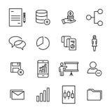 Reeks pictogrammen van het premiegroepswerk in lijnstijl Stock Afbeeldingen
