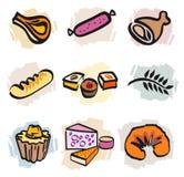 Reeks Pictogrammen van het Voedsel Stock Foto