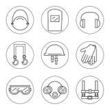 Reeks pictogrammen van individueel beschermingsmiddel in bouw royalty-vrije illustratie