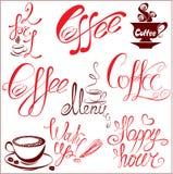 Reeks pictogrammen van koffiekoppen, gestileerde schetssymbolen  Royalty-vrije Stock Fotografie