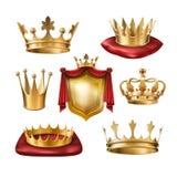 Reeks pictogrammen van koninklijke gouden kronen van diverse die soorten en wapenschild op wit worden geïsoleerd stock illustratie