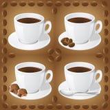 Reeks pictogrammen van koppen met koffie Royalty-vrije Stock Afbeeldingen