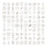 Reeks pictogrammen van krabbelcofee Stock Foto
