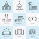 Reeks pictogrammen van overheidsgebouwen Stock Afbeeldingen