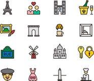 Reeks pictogrammen van Parijs en van Frankrijk Royalty-vrije Stock Foto's