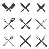 Reeks pictogrammen van restaurantmessen Silhouet - Mes en Chef-kok Knives Stock Afbeelding