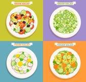 Reeks pictogrammen van salades Stock Afbeelding