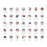 Reeks pictogrammen van SEO en van de Ontwikkeling Stock Afbeeldingen
