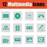 Reeks pictogrammen van verschillende media Stock Foto