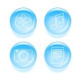 Reeks pictogrammen van verschillende media Stock Foto's