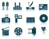 Reeks pictogrammen van verschillende media Stock Afbeeldingen