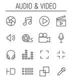 Reeks pictogrammen van verschillende media in moderne dunne lijnstijl Stock Foto