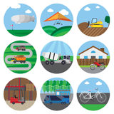 Reeks pictogrammen van vervoer Stock Illustratie
