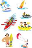 Reeks pictogrammen van water extreme sporten Royalty-vrije Stock Afbeelding